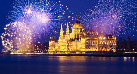 New Year in the city - Budapest Parliament with fireworks Stock Photo