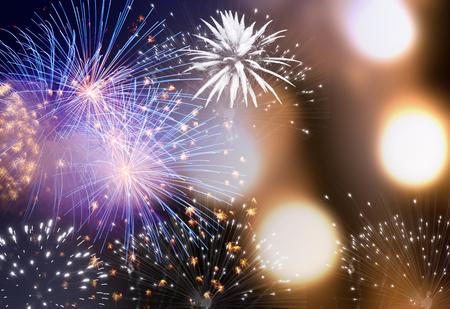 Feux d'artifice au nouvel an et espace copie - fond abstrait vacances Banque d'images