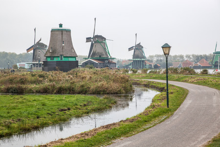 real working windmills in the suburbs of Amsterdam, the Netherlands