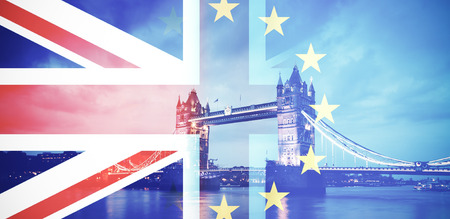 flags of UK and EU combined over icons of London - Brexit concept Archivio Fotografico