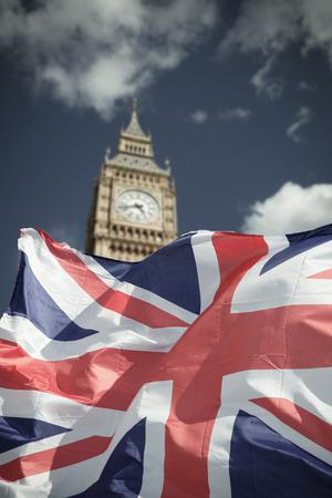 英国と EU のフラグはロンドン - Brexit コンセプトのアイコンを組み合わせる 写真素材
