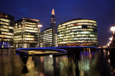 the Shard, The City Hall and office buildings at night, London, Uk