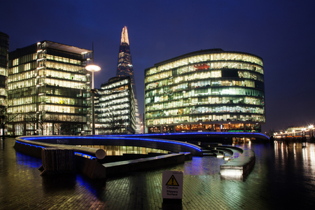 cityhall: the Shard, The City Hall and office buildings at night, London, Uk