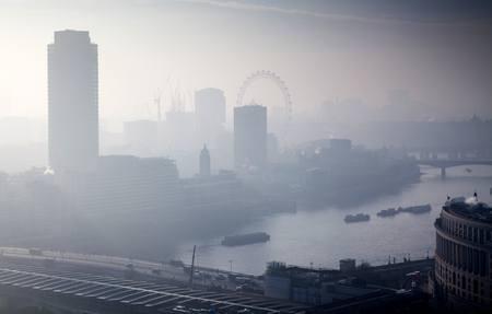 rooftop view over London on a foggy day from St Pauls cathedral, UK Stok Fotoğraf