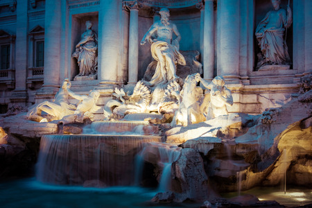 historical building: famous Trevi Fountain at night (Italian: Fontana di Trevi), Rome, Italy