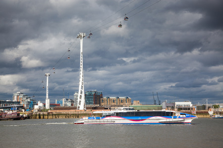 LONDONUK - MAY 20 : Emirates Air Line cable car in North Greenwich Editorial