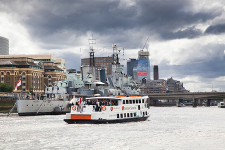 LONDONUK - MAY 20 : The HMS Belfast moored on the River Thames in London