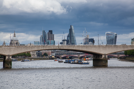 LONDONUK - MAY 20 : Panorama of London, Waterloo Bridge and skyscrapers of the City, the River Thames, London