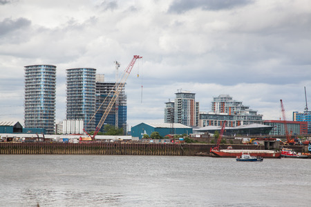 LONDONUK - MAY 20 : Riverside apartment and business buildings in North Greenwich