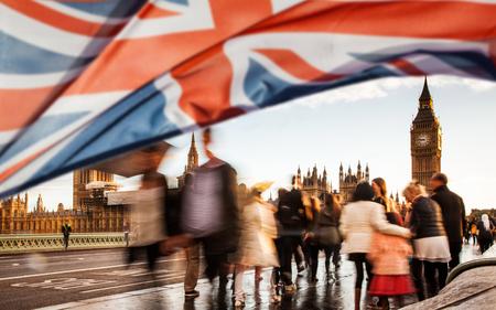 Union Jack Flag en Big Ben op de achtergrond, Londen, Groot-Brittannië - Algemene verkiezingen, Londen, Verenigd Koninkrijk Stockfoto