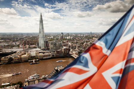 union jack flag and London panorama in the background - general elections, UK Stock Photo