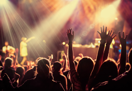 crowd at concert - summer music festival Foto de archivo