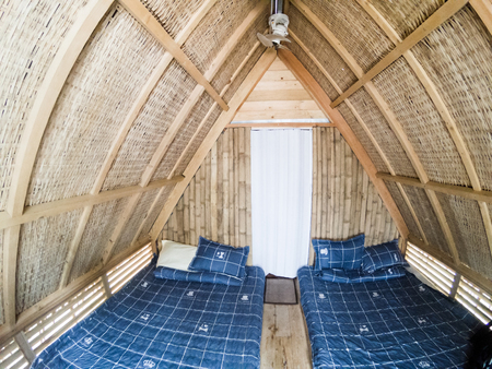 bamboo bed bedroom house bungalow furniture room architecture home bunglow tropical net wood accommodation design white hotel yellow wooden eco interior building green modern resort traditional cabin curtain hut inside asia pattern cozy mosquito