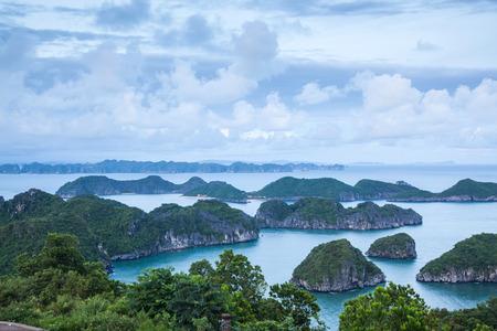 view over the  beautiful limestone rocks of Lan Ha bay from Cat  Ba island, the southern edge of Ha Long bay, Vietnam Stock Photo