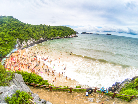 overcrowded beach in Cat Ba Island - it is a popular summer destination for Vietnamese tourists Stock Photo