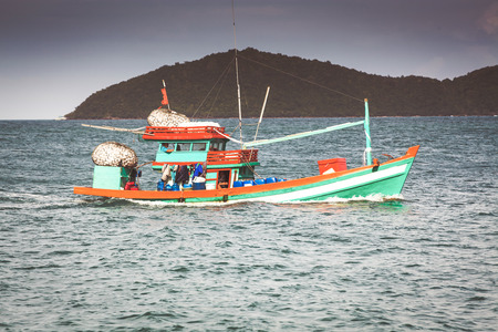 traditional colorful vietnamese fishing boats in Nam Du island, Kien Giang, Vietnam Stock Photo