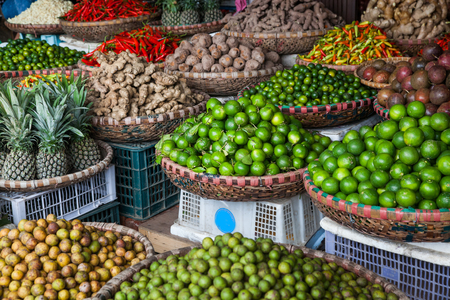 tropical spices and fruits sold at a local market in Hanoi (Vietnam) Stock Photo