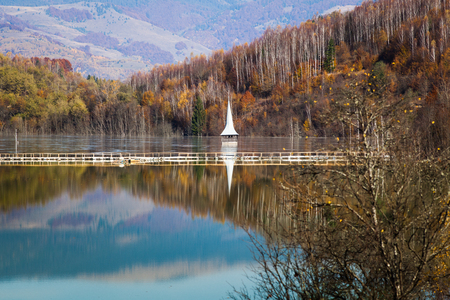 cyanide pollution at Geamana Lake near Rosia Montana, flooded village, ecological disaster Stock Photo