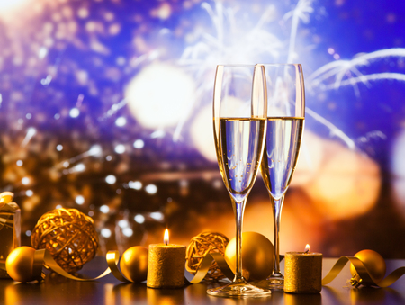 two champagne glasses against holiday lights and fireworks - new year celebration Stok Fotoğraf