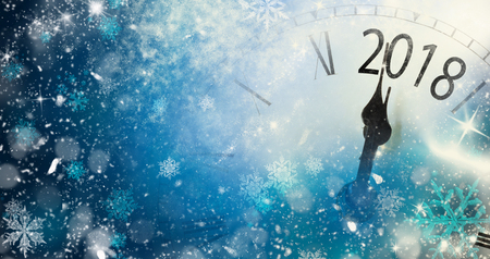 2018 New Year background with clock and snowflakes Archivio Fotografico