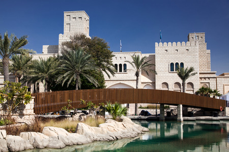 DUBAI, UAE - FEBRUARY 2018: View of the Souk Madinat Jumeirah. Madinat Jumeirah encompasses two hotels and clusters of 29 traditional Arabic houses