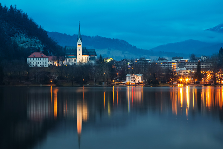 lake bled at dusk - beautiful Slovenia travel background
