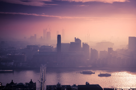 rooftop view over London on a foggy day from St Pauls cathedral, UK Stock Photo