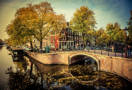 Beautiful canals and traditional Dutch buildings in Amsterdam, the Netherlands