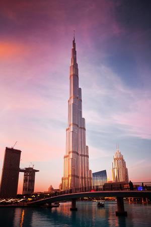 DUBAI, UAE - FEBRUARY 2018: Burj Khalifa, world's tallest tower at sunset, Downtown Burj Dubai. Editorial