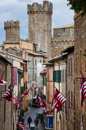 view on traditional medieval town of Montalcino, Tuscany, Italy Editorial