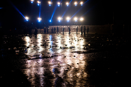 empty concert venue in the night