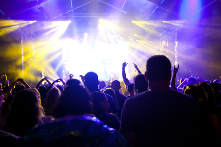 cheering crowd with raised hands at concert - music festival