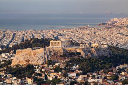 aerial view over Athens with te Acropolis and harbour from Lycabettus hill
