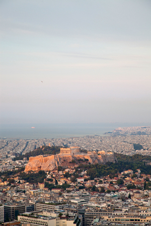 cityscape of Athens in early morning with the Acropolis seen from Lycabettus Hill, the highest point in the city Stock Photo