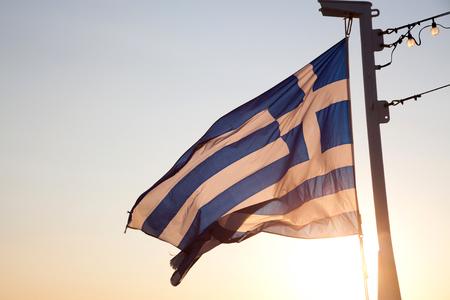 greece flag at sunrise