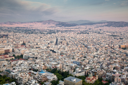 aerial view over Athens from Lycabettus hill
