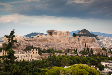 athens seen from Philopapou hill with views to Herodium , Acropolis and the Parthenon, Attica, Greece