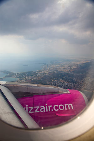 ATHENS, GREECE - SEPTEMBER 16, 2018: Wizzair aircraft landing in Athens airport