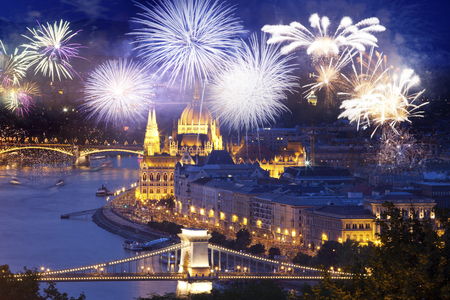 fireworks around Hungarian parliament-  New Year destination, Budapest Reklamní fotografie