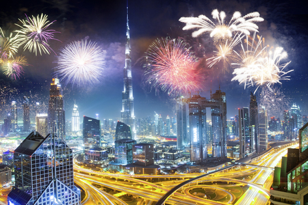 fireworks around Burj Khalifa - exotic New Year destination, Dubai, UAE