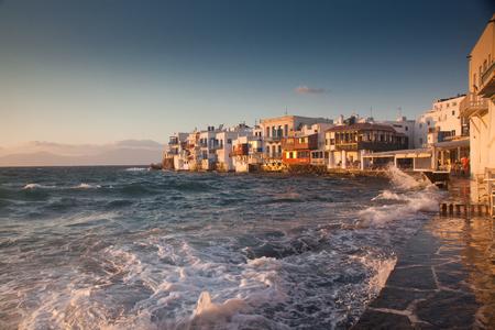 little venice at sunset, mykonos, Greece - luxury travel destiation - greek islands