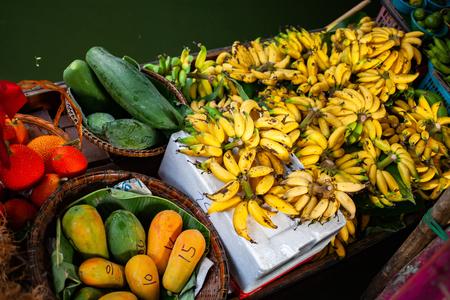 floating market - top view of boat full of fresh fruits on sale Stock Photo