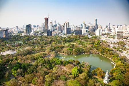 high buildings panorama downtown of Bangkok City and Lumpini park Thailand Stock Photo - 120054820