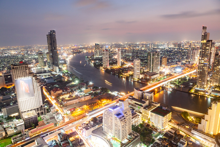 aerial night view of Bangkok City skyscrapers Thailand Stock Photo - 120054677