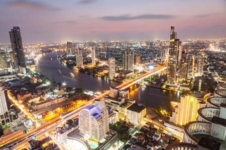aerial night view of Bangkok City skyscrapers Thailand Stock Photo