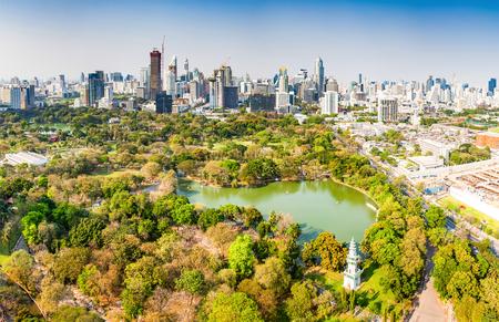 high buildings panorama downtown of Bangkok City and Lumpini park Thailand Stock Photo - 120054684
