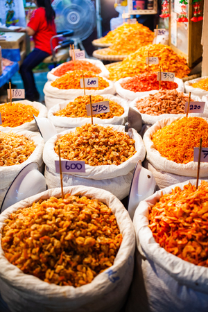 dried shrimp and seafood on the market