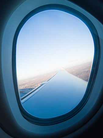 airplane window and wing