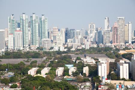 high buildings panorama downtown of Bangkok City Thailand Reklamní fotografie - 121339344