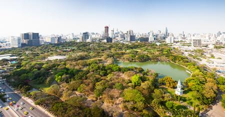high buildings panorama downtown of Bangkok City and Lumpini park Thailand Reklamní fotografie - 121339400